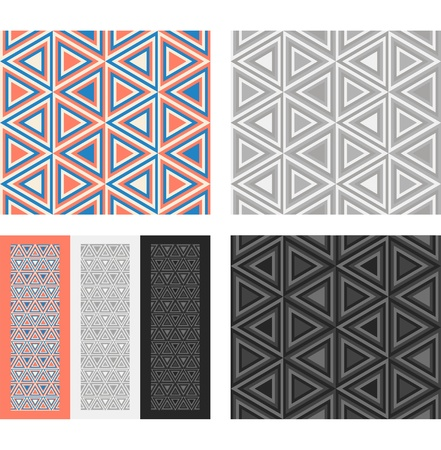 african grey: Fashion geometrical pattern with triangles  Seamless vector background  Set of 3 color variation