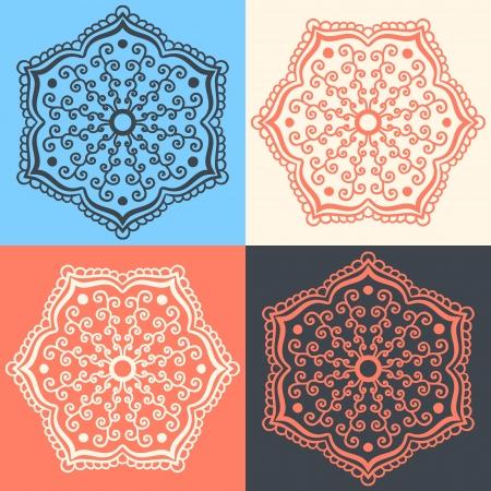 hindi: Set di fiori astratti in diversi colori Vettoriali
