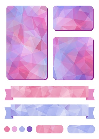Set of colorful design elements  with abstract geometric background with triangular polygons