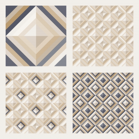 Geometrical pattern in dark gray golden colors, seamless vector background for floor tiles, fashion, design  Vector