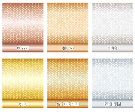 Set of luxury metallic backgrounds  Bronze, silver, gold, copper, platinum, antique gold  For discount, credit, gift cards or other design  Vectores