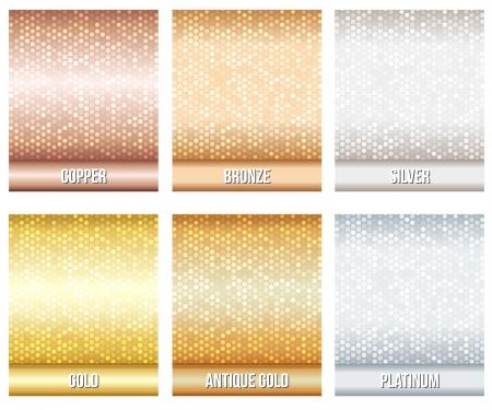 platina: Set van luxe metalen achtergronden brons, zilver, goud, koper, platina, antiek goud Voor korting, creditcard, cadeaubonnen of andere design