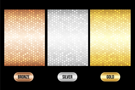 Set of luxury metallic backgrounds  Bronze, silver, gold  For discount cards or other design  Illustration