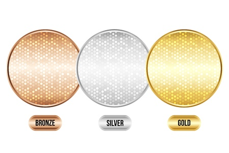 Set of luxury metallic backgrounds  Bronze, silver, gold  For discount cards or other design  Vector