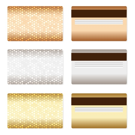 Set of luxury metallic backgrounds  Bronze, silver, gold  For discount, credit, gift cards or other design  Vector