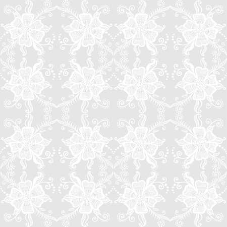 Lacy floral pattern  Seamless background in light gray color  Vector