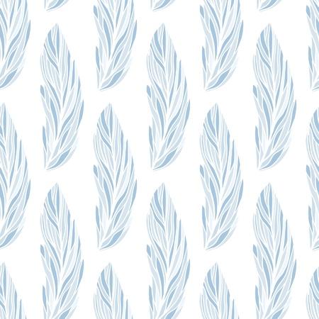 손으로 그린 깃털과 함께 완벽 한 벡터 패턴