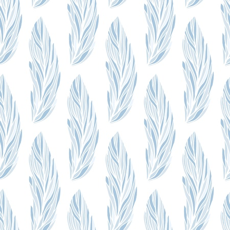 Seamless vector pattern with hand-drawn feathers