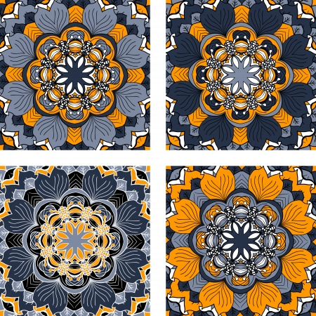 Set of four colorful abstract circular floral pattern  Vector