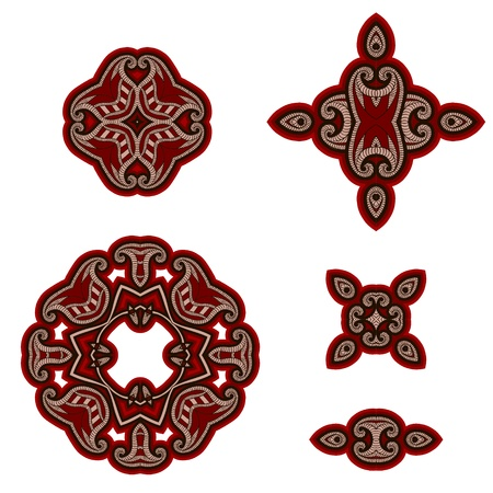 carpet floor: Set of design elements in oriental style. Vector background in red and black colors.