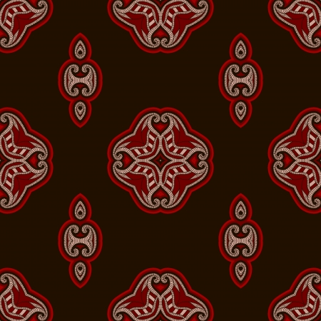 Patterned floor tile in oriental style  Seamless vector background in red and black colors  Illustration