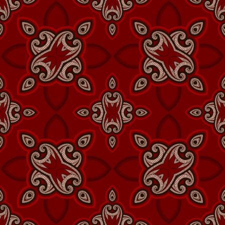Patterned floor tile in oriental style  Seamless vector background in red and black colors  Vector