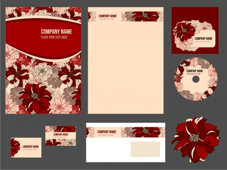 Corporate identity for company or event. Vector template for business stationery set. Vectores