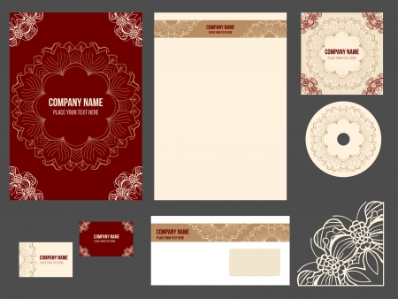 Corporate identity for company or event. Vector template for business stationery set. Vector