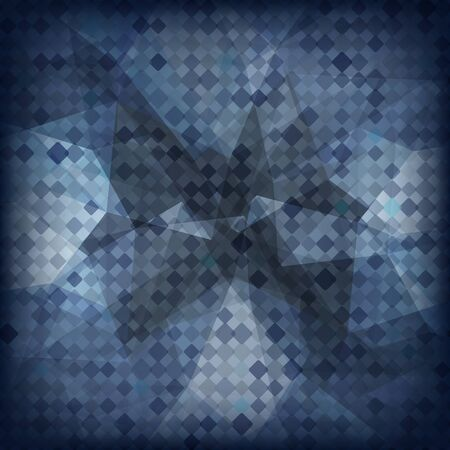 Abstract geometric dark background with triangular polygons. Vector