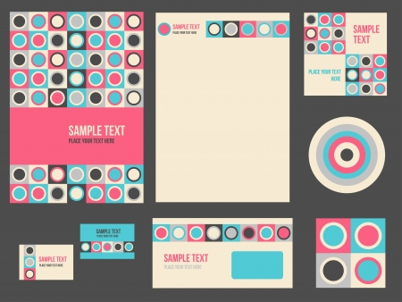 Corporate identity for company or event. Vector template for business stationery set. Çizim