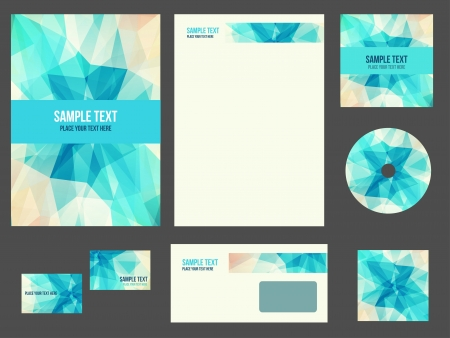 Corporate identity for company or event. Vector template for business stationery set.  イラスト・ベクター素材