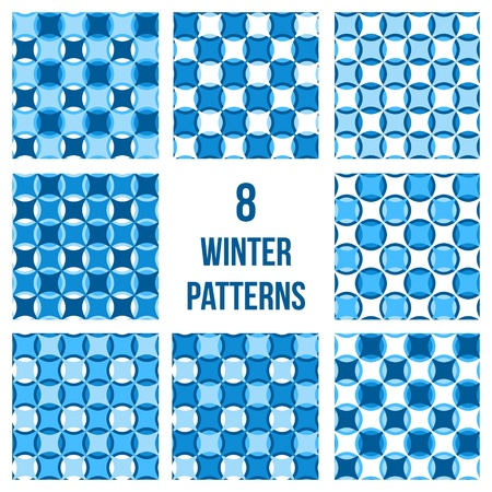 Set of eight geometrical patterns, seamless vector backgrounds in winter colors Stock Vector - 21422238