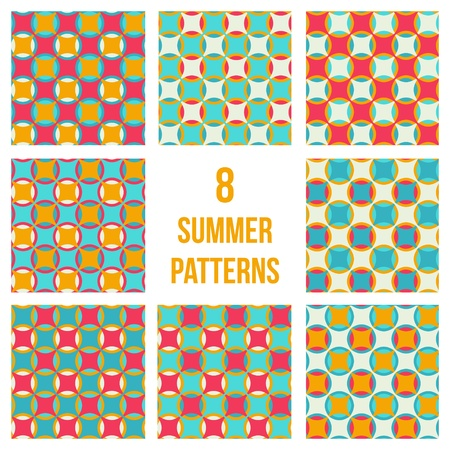 Set of eight geometrical patterns, seamless vector backgrounds in summer colors Stock Vector - 21422239