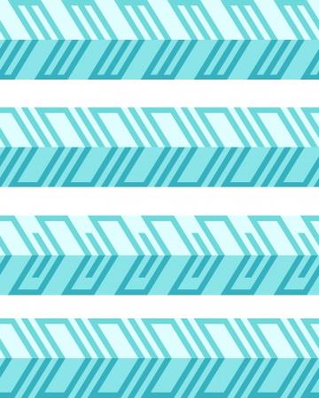 Conjunto de fronteras sin problemas geométricos estampados planos con ilusión 3d. Ilustración del vector. No degradados, sin efectos - sólo colores lisos.
