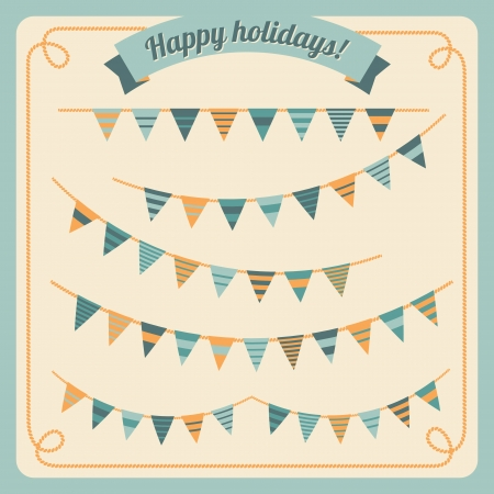 Set of bunting and garland in retro colors  Vector illustration  Vector