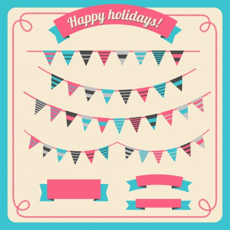 Set of bunting and garland in retro colors, with banners  Vector illustration