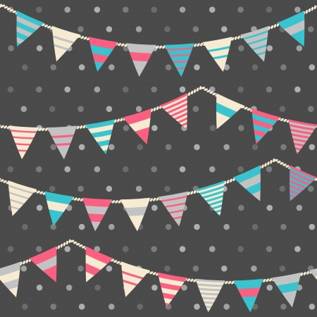 Colorful pattern with bunting and garland  Seamles vector background   イラスト・ベクター素材
