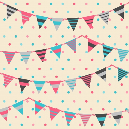 Colorful pattern with bunting and garland  Seamles vector background  Illustration