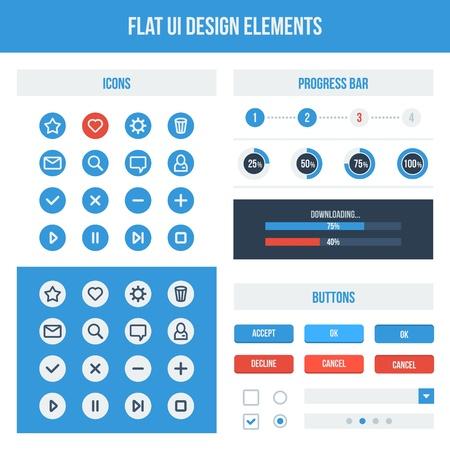 Flat UI design elements set