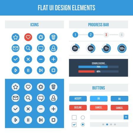 blue web icons: Flat UI design elements set