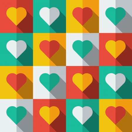 Hearts in flat icon style  Abstract seamless Vector