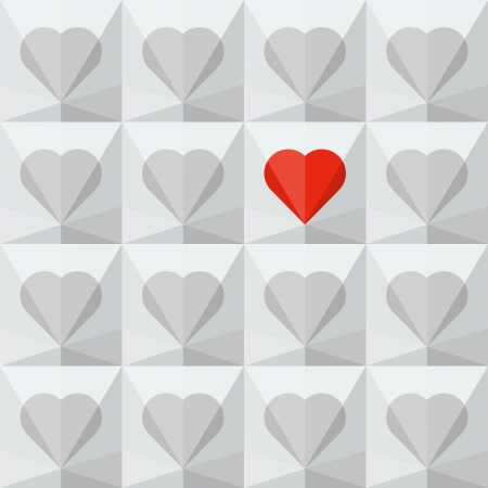 Light grey crystal hearts with one different red heart  Abstract seamless background  Vector