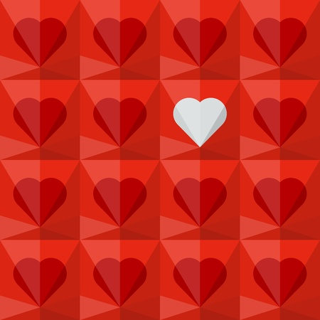 Red crystal hearts with one different white heart  Abstract seamless background  Vector