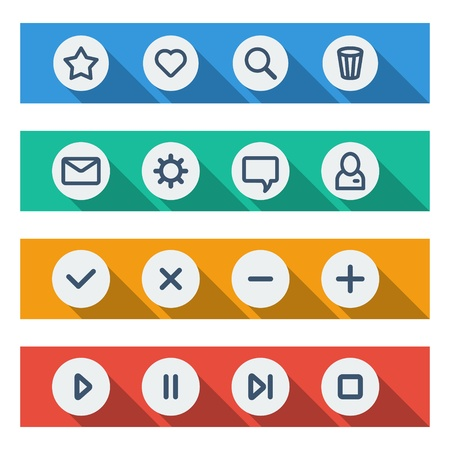 Flat UI design elements - set of basic web icons on colorful bars  Vector illustration  Vector