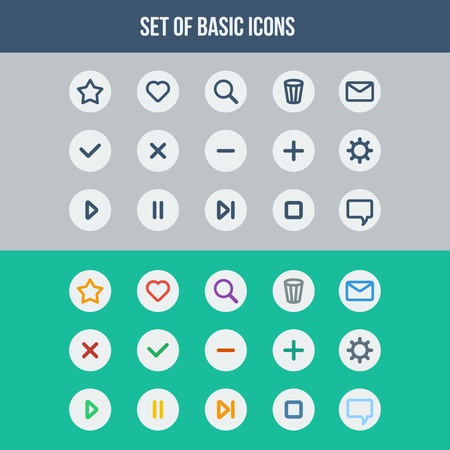 Flat UI design elements - set of basic web icons two different color schemes  Vector illustration Stock Vector - 22156536