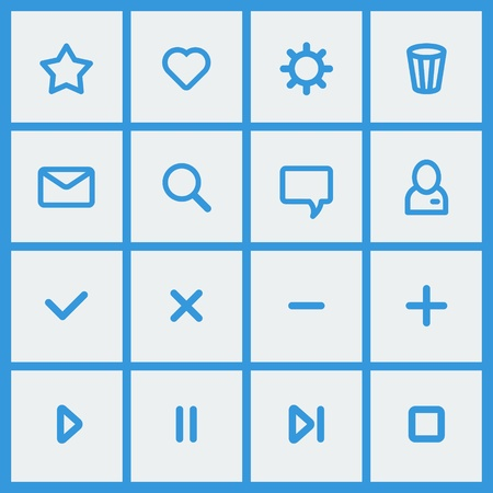 Flat UI design elements - set of basic web icons in white and blue  Vector illustration  Vector