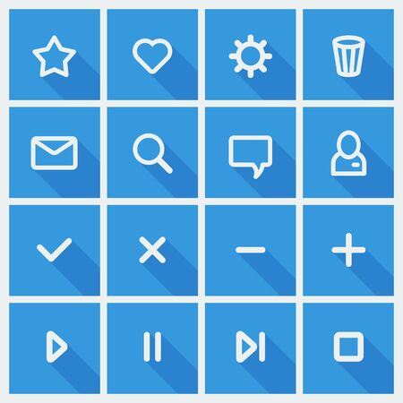 Flat UI design elements - set of basic web icons in blue and white  Vector illustration  Vector
