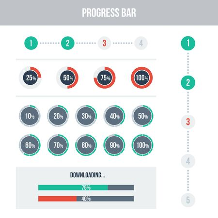 progress: Flat UI design elements set - different progress bars  Vector illustration  Light colors  Illustration