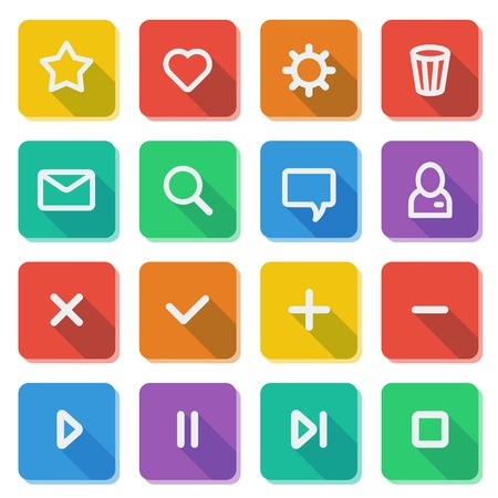 Flat UI design elements - set of basic web icons on colorful bars  Vector illustration  Stock Vector - 22387822