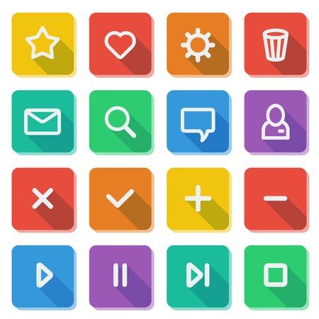 Flat UI design elements - set of basic web icons on colorful bars  Vector illustration Stock Vector - 22387822