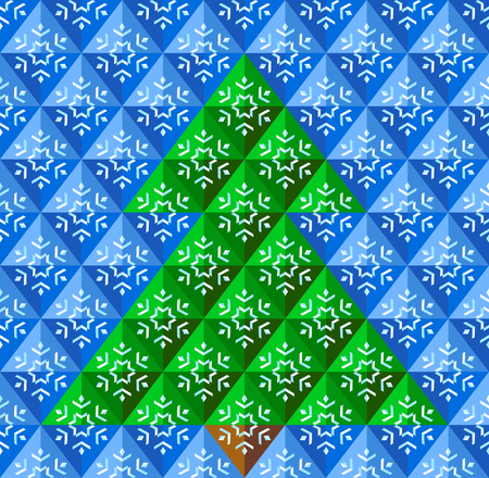 Abstract geometrical Christmas tree, with snowflake background in blue colors  Vector illustration  Vector