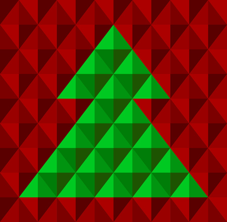 Abstract geometrical Christmas tree, with snowflake background in red and green colors  Vector illustration  Stock Vector - 22387832