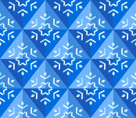 Geometrical snowflake background in blue colors  Vector illustration  Vector