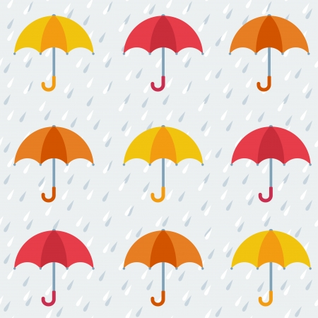 Autumn pattern with colorful umbrellas and rain  Seamless vector background  Vectores
