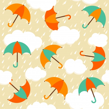 Autumn pattern with colorful umbrellas and rain  Seamless vector background  Vector