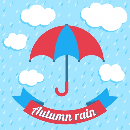 Autumn vector illustration with umbrella, clouds, rain and ribbon banner Vector