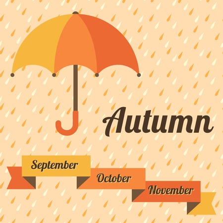 Autumn vector illustration with umbrella,  rain and ribbon banner  Yellow and orange colors  Vector