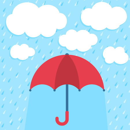 Autumn vector illustration with umbrella, clouds and rain  Protection concept  Vector