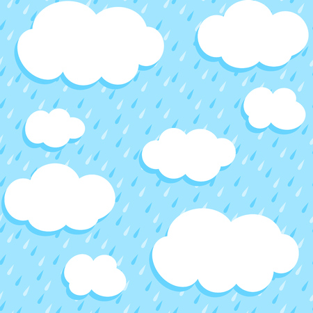 Autumn pattern with white clouds and rain  Seamless vector background  Vector