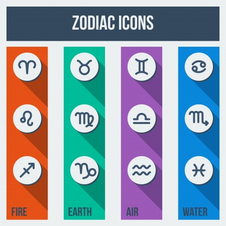 Zodiac signs with shadows in flat style  Set of colorful square icons with appropriate colors of elements - air, earth, water, fire   Vector illustration  Vector